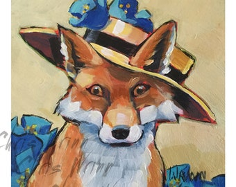Fox Painting, Foxy Lady, 5x5 inches Wall Art or Countertop, Nature, Childs Room