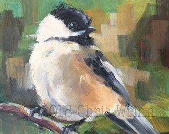 Chickadee - Original Painting - 5x5 inches, wall art, home decor, Bird Watcher