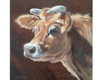 Cow Painting, Jersey Cow Original Oil Painting 12x12 inches Wall Art, Farmhouse Decor, Dairy