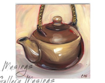 Tea Pot Painting Impressionistic Style Original Oil Painting 6x6