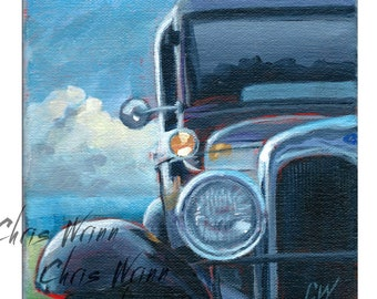 Model T Ford Painting on Canvas, Gallery Wrap, Antique Car Art 6x6 Inches