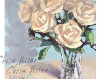 White Roses Original Oil Painting, 5x5 inches a Small Painting, Home Decor, Floral Art, Flowers