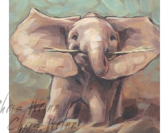 Elephant Painting, Baby Elephant a Unique Gift 5x5 inches, Wildlife Art, Cute, Whimsical