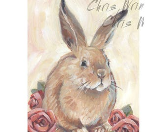 Bunny Painting with Flowers, A Small Original Painting 5x7 inches, Animal Art