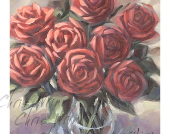 Red Roses Original Oil Painting, 6x6 inches a Small Painting, Home Decor, Floral Painting, Flowers
