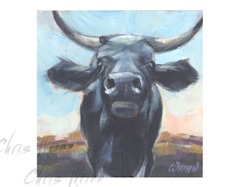 The GateKeeper Cow Painting, Black Bull Original Painting 5x5 inches, Farmhouse