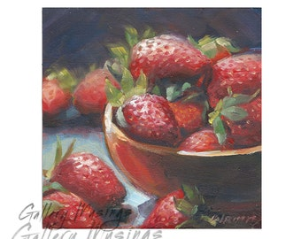 Strawberries Original Oil Painting Dark Red on a 4 x 4 Panel, Kitchen Decor