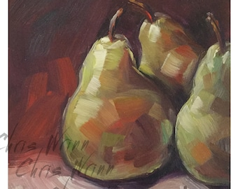 3 Pears Oil Painting 5x5 inches, Kitchen Art, Food Art, Fruit Art