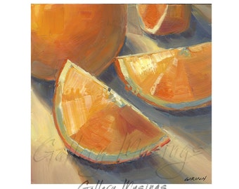 Oranges Oil Painting, Food Art, Kitchen or Dining Room, Mini Painting 6x6