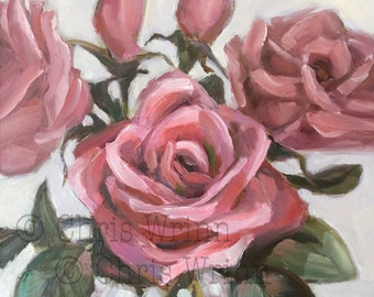 Pink Roses Original Oil Painting, 5x5 inches a Small Painting, Home Decor, Floral Art, Flowers