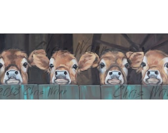 Cow Painting, 4 Brown Baby Cows, Calf Original Painting - 12x36 inches  Farmhouse Wall Art