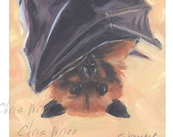 Fruit Bat Painting, Flying Fox 4x4 inches on Panel, Home Decor, Animal Art