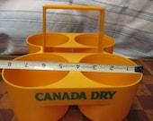 Vintage Advertising Canada Dry CARRIER Transport for 4 Plastic Soda Tonic Bottles retro corner market grocery store decor orange mid century