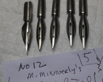 Five Vintage M. MINNERLYS BOWL POINTED Fountain Pen Nibs # 12 Springfield Mass. calligraphy writing calligraphy clean