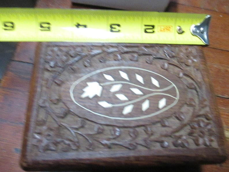 Vintage Carved Wood Trinket Jewelry Box mid century India chip carved collectible lined trinket storage