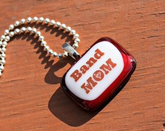 Music Jewelry - Band MOM Necklace - Red and White Band Mom Glass Pendant - Fused Glass Pendant
