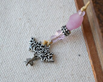 Beaded Bookmark - Butterfly Kisses - Pink Bookmark