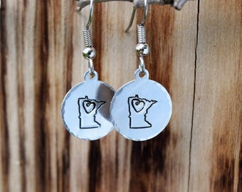 Metal stamped Jewelry - Hand Stamped Jewelry - Metal Stamped Earrings - Northern MN Earrings - Love Minnesota Jewelry - Heart Minnesota