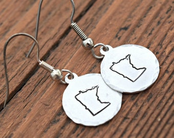 Metal stamped Jewelry - Hand Stamped Jewelry - Metal Stamped - MN Earrings - Minnesota Jewelry