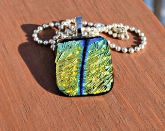 Glass Jewelry - Peacock Colored Necklace - Gold Green and Blue Dichroic Fused Glass Pendant