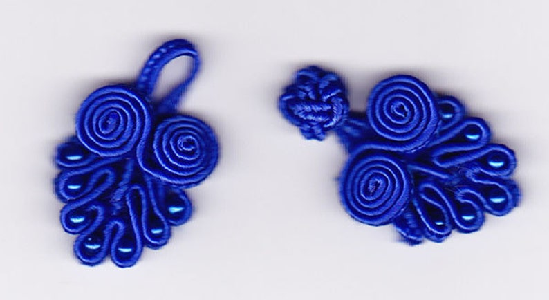 Ten pairs dark blue bead Chinese Frogs fasteners closure buttons