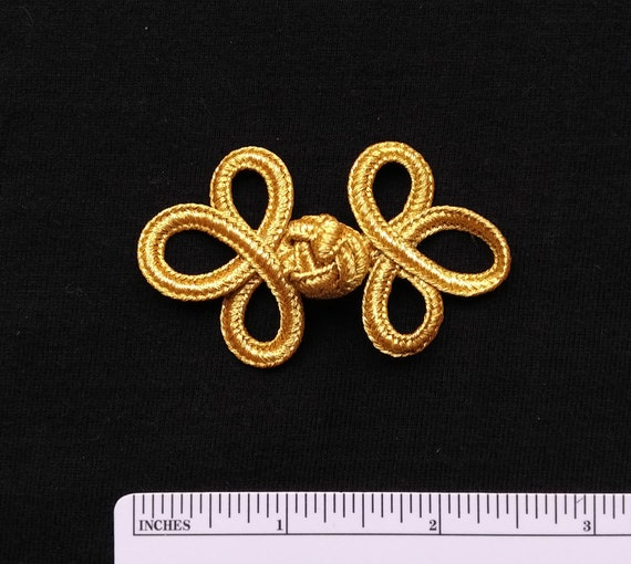 """6 pairs 2/"""" black triloop Chinese frog buttons knot closures fasteners cheongsam"""