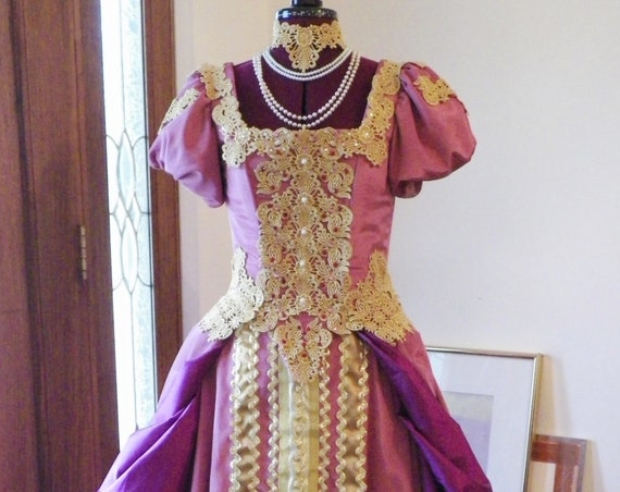 Catherine the Great Russian Slavic Court Wedding Gown Dress Costume and Kokoshnik Headdress Custom Made to Fit your measurements