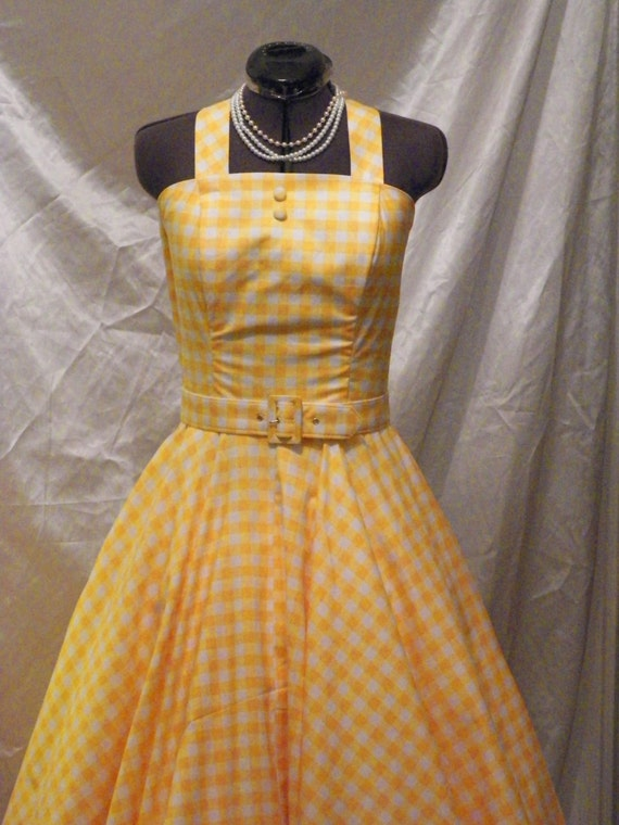 Gingham Summer Dress,  50s Gingham Sun Dress, Up Pixar Movie Dress, Yellow Gingham Cotton Dress, Sexy Gingham Summer Dress, handmadeDress