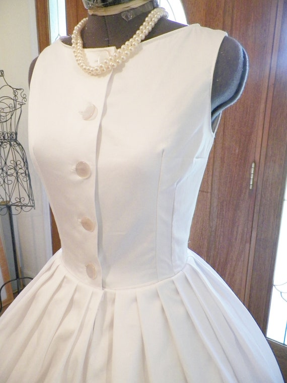 1950s 50s Cotton Wedding Dress, 50s  Cotton Summer Dress, Sexy Marilyn White Dress, Blythe White Dress, Sleeveless White Dress, handmade