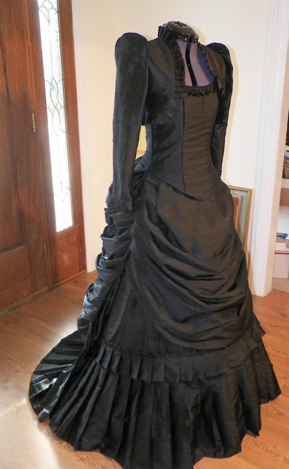 Victorian Bustle Dress, Steampunk Dress, Gothic Dress, Bustle Dress, Wedding Dress, Black Dress, 18th Century Dress, 1800s Dress, handmade