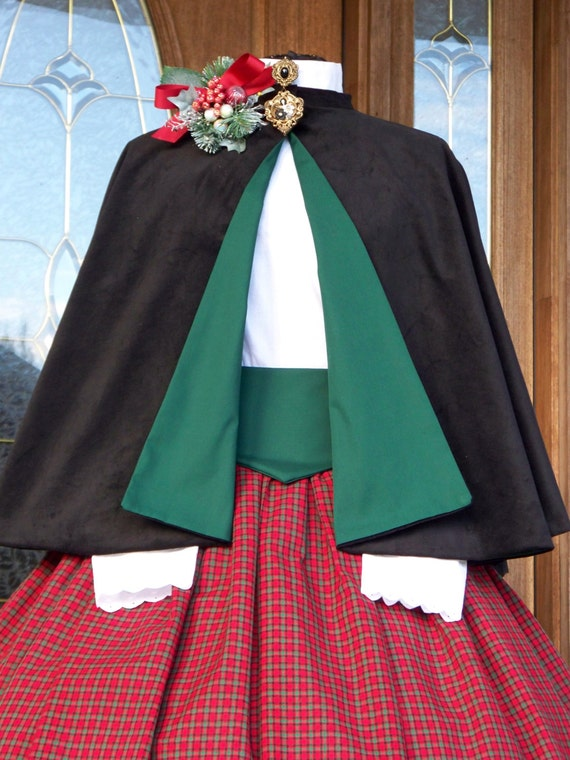Victorian Civil War Dickens Christmas Carolers 1800's Holiday Parade Black Corduroy CAPE and SASH Only