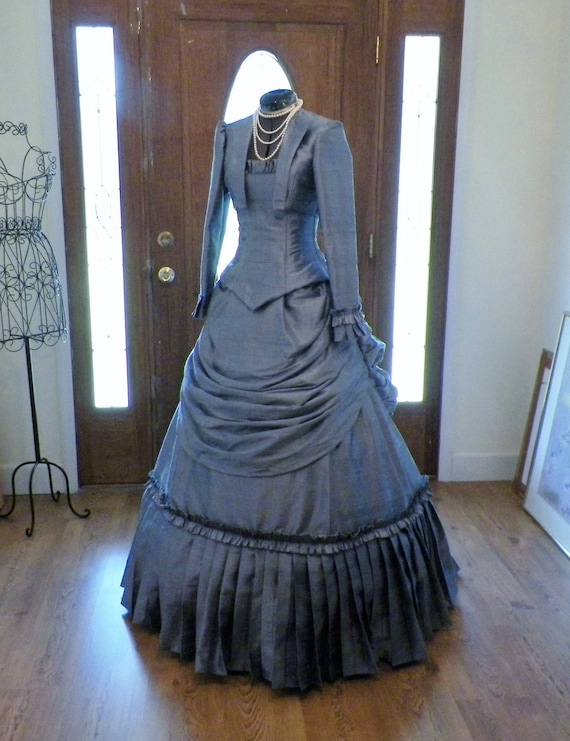 Dress, Victorian Dress, Steampunk Dress, Bustle Dress, Wedding Dress, Silk Wedding Dress, Victorian Walking Dress, Victorian Costume, custom