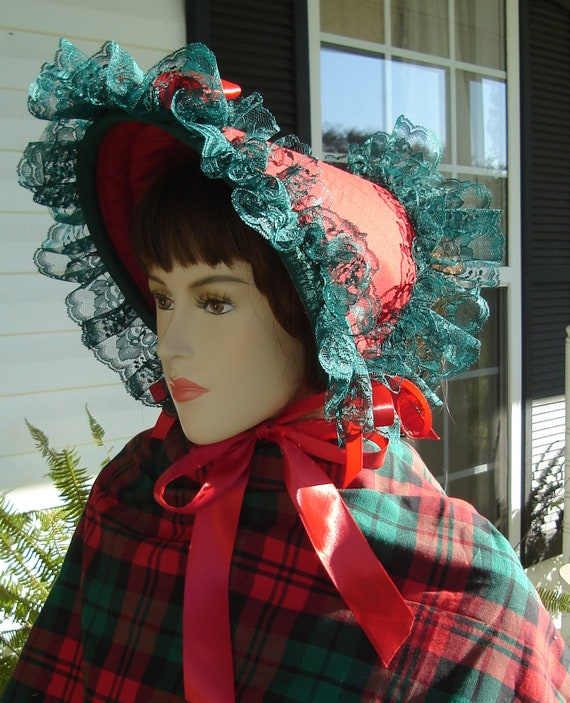 Dickens Bonnet, Dickens Christmas Costume, Victorian Bonnet, Civil War Bonnet, 1800's Costume, Satin Bonnet, Spoon Bonnet, handmade