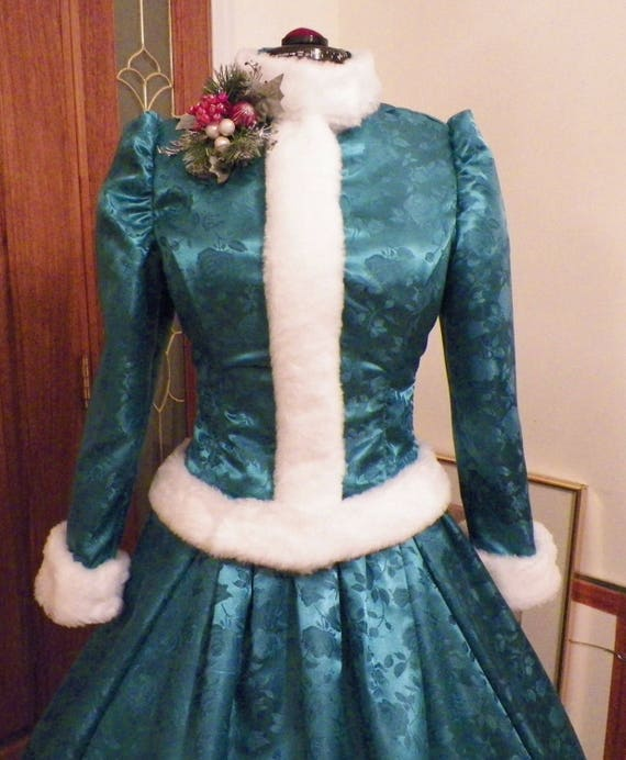White Christmas Holiday Carolers Dickens Victorian Dress Costume, handmade to fit your measurements
