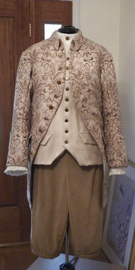 Frock Coat, Frock Coat Men, Waistcoat, 18th Century Frock Coat, Colonial Frock Coat, 18th Century Clothing, Custom 4 Piece Suit, Handmade