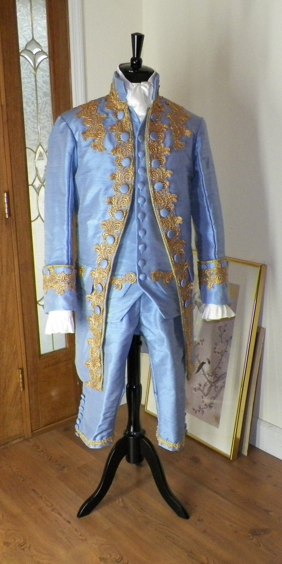 Frock Coat Men, 18th Century Frock Coat Set, Silk Frock Coat Set, Blue Frock Coat set, Colonial Frock Coat,  handmade to order, custom