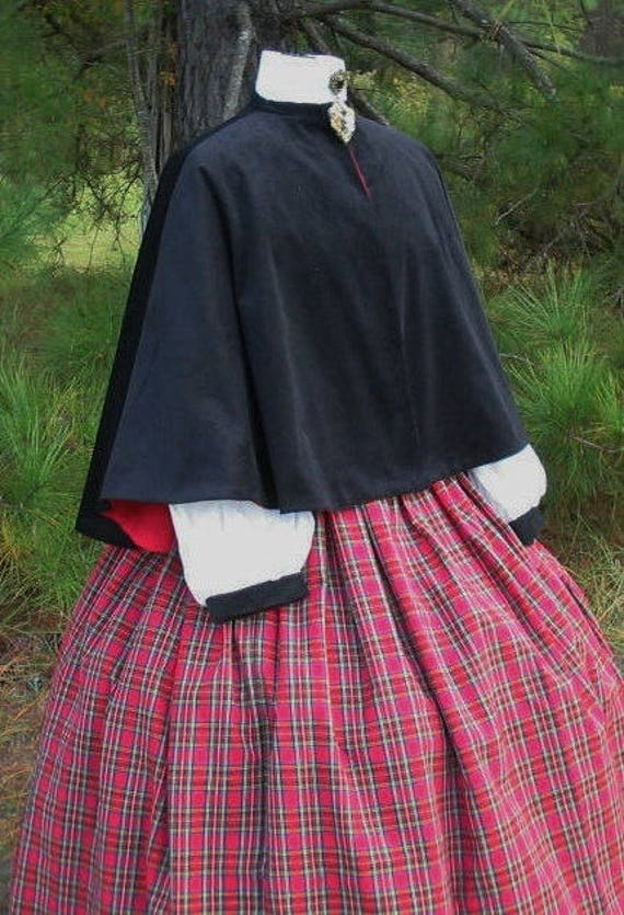 Victorian Dickens Christmas Carolers Holiday Costume Set Cape Skirt  Sash Dress Couture custom made to fit