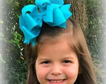 Big Hairbows, Girls hair Bows,  Girls Large Bows, Boutique Hair Bows, Lot Set of 7 Hair Bows, Triple Layered Bow, 6 inch Bow, Wholesale Bows