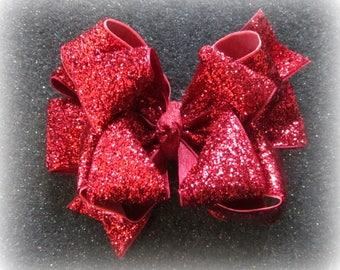 3,4 or 5 Inch Red Velvet And Gold Glitter Christmas Children/'s Hair Bow