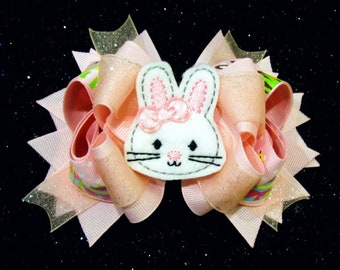 Easter bunny pink faux leather bow Easter bunny hair bow Pink bunny egg hair bow Light pink Easter bow Pink bunny glitter bow Rixie.
