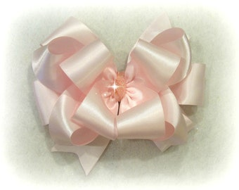 Large 5 Inch Pink Mirrored//Glitter Children Double Hair Bow