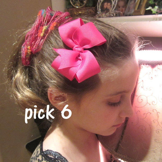 """Bella Bows Triple Stacked Bows Boutique girls lot set of 3 hairbows 5/"""" Layered"""
