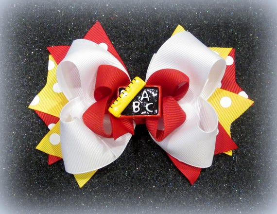 """NEW /""""ABC CHALKBOARD/"""" Girls Ribbon Hairbow Clip Bow Back to School 2 Bow Set"""