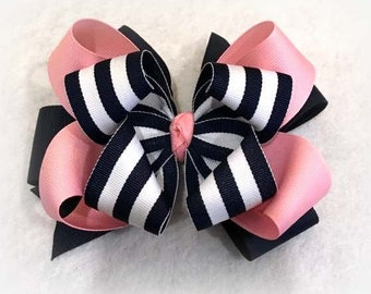 Navy Striped Bow, Pink and Blue Bow, Boutique hairbows, Layered Bows, Striped Nautical Bow, Stacked Hair Bows, Baby Bows, Toddler Bows, Blue