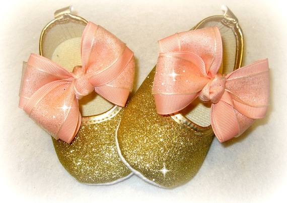 NEW Baby Girl Gold Hearts Bow Faux Leather Mary Jane Crib Shoes Valentines Day