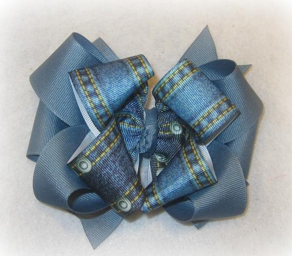 Blue denim hair bow-Girls blue hair bow-Denim hair bowGirls blue bow headband