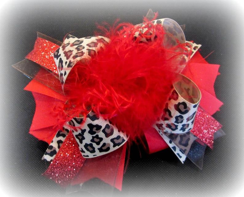 a64d0c9778d Cheetah Hair Bow Leopard OTT Bow Red headband Big Red Bow
