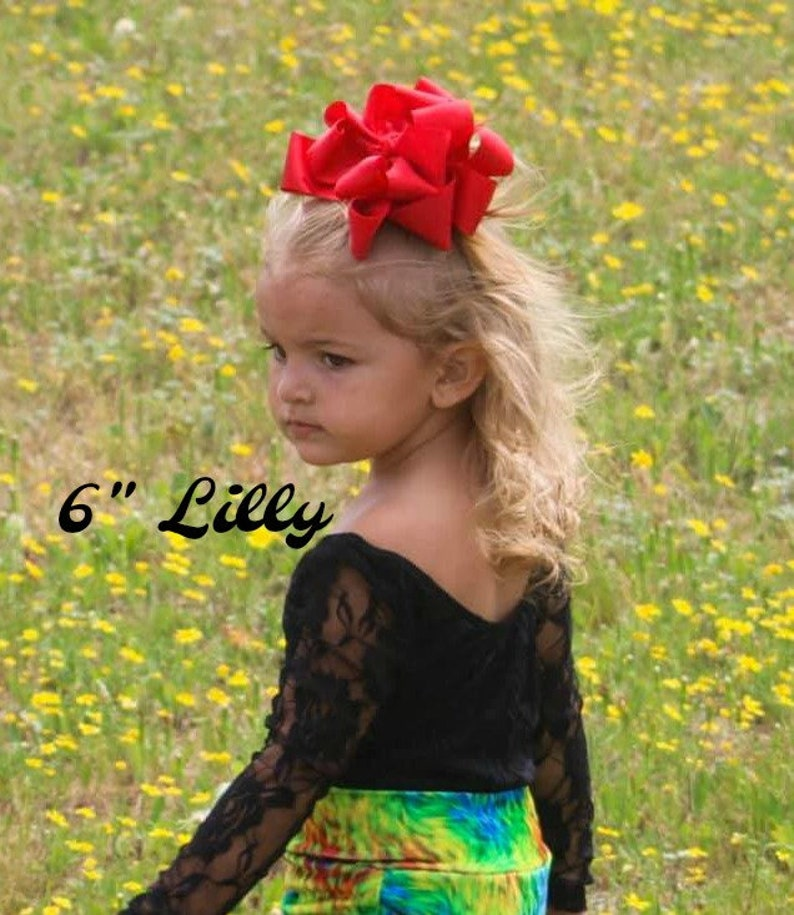 Neon Pink Hairbow 4 5 6 inch Bows Neon Pink Hair Bow Large bows for girls Big Double Bow Lilly Bow Layered Hairbow BTS Jumbo Bow