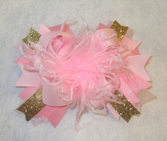 Handmade Pink Over The Top Ostrich Feather Hair Bows