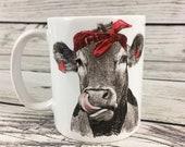 Cow Mug, Coffee Cup, 11 oz Mug, Funny Mug, Cow with Bandana Animal Mug Funny Coffee Mug, Gift for Her, Ceramic Mug, Cow Gift, Cow Lover Gift